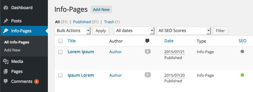 Wordpress CMS: Custom Content Type