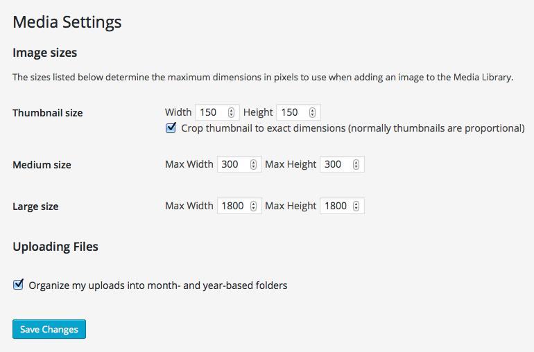 Wordpress image size settings