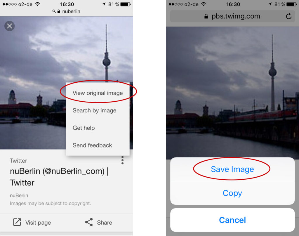 How to save Images from Google Image Search on iPhone